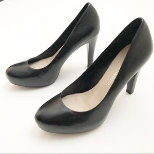 Franco Sarto Black Leather Round Toe Pumps Heels 7